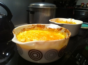The finished dishes- seafood casserole and mac and cheese!