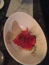 Watermelon with Nori and Preserved Mustard